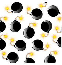 Bomb with alight wick pattern vector