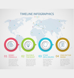 Business chart timeline with process steps vector