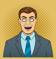 businessman with clock in eyes pop art vector image