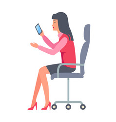 Businesswoman sitting and holding mobile phone vector