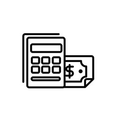 calculator banknote bank business cash money line vector image
