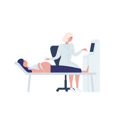 cartoon female doctor scanning pregnant woman vector image