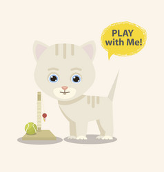 cat and toy vector image