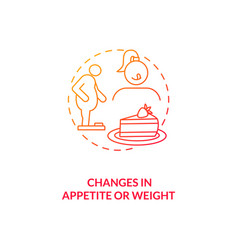 Changes in appetite and weight concept icon vector