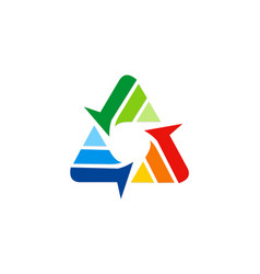 circle arrow triangle technology logo vector image