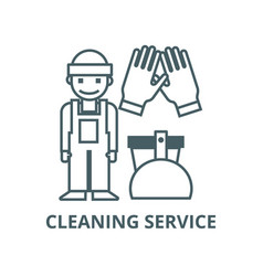 Cleaning servicecleaning man line icon vector