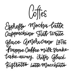 coffee types and titles modern linear hand vector image