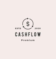 coin money cashflow recycle logo retro hipster vector image