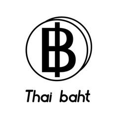 Coin with thai baht sign vector