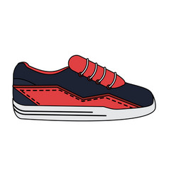 Color image cartoon sneaker sport shoes vector