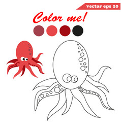 coloring book page with underwater creature vector image