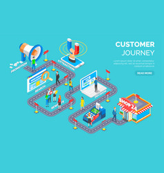 Customer journey road signs and steps client vector