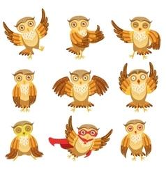 Cute Brown Owl Emoji Icon Set vector image