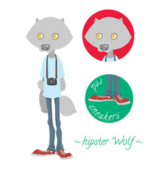 Cute hipster wolf vector