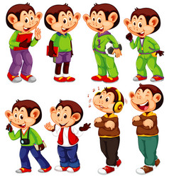 cute monkey in different costumes on white vector image