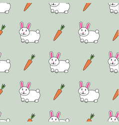 cute seamless pattern with cute rabbits and vector image