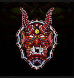 devil mecha head esport mascot logo vector image