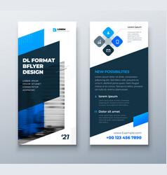 Dl flyer design layout black blue corporate vector
