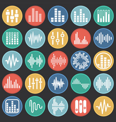 equalizer icons set on color circles black vector image
