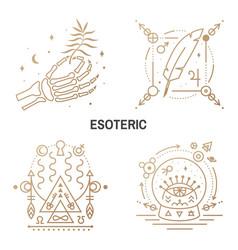 Esoteric symbols thin line geometric vector