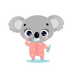 flat doodle cute cartoon koala brushing teeth vector image