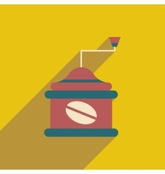 Flat icon with long shadow coffee mill vector