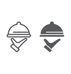 Food service line and glyph icon hotel and food vector