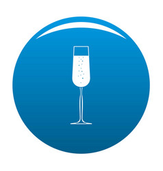 Glass of champagne icon blue vector