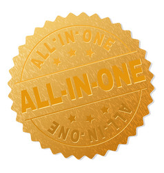 Golden all-in-one medal stamp vector
