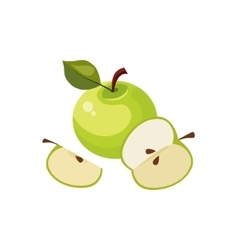 Green Apple Breakfast Food Element Isolated Icon vector image