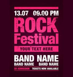 grunge rock festival flyer design template vector image