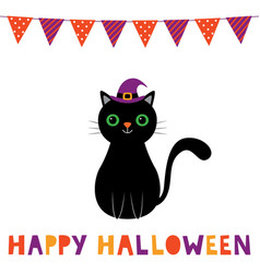 halloween card with a cute cartoon cat vector image