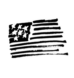 hand drawn american flag stars and stripes vector image