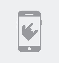 hand showing horns gesture on smartphone vector image