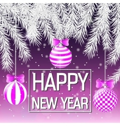 Happy New Year Silver spruce branches Pink vector image