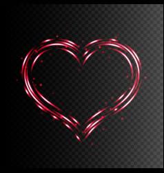 heart shape frame light effect vector image