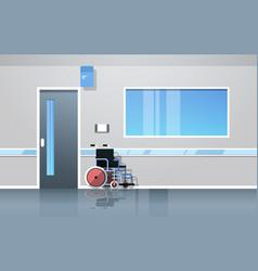 Hospital corridor hall with wheelchair medical vector