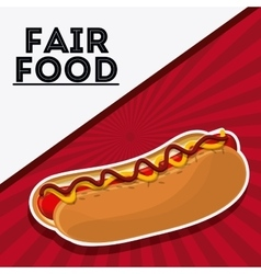 Hot dog fair food snack carnival icon vector