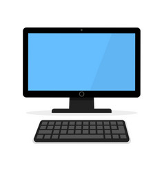 icon of a black computer monitor with a keyboard vector image