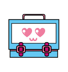 kawaii cute tender suitcase design vector image