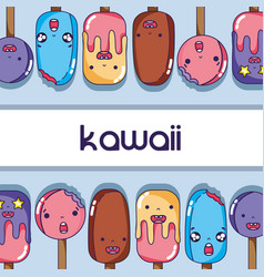 Kawaii ice cream and lolly faces expression vector