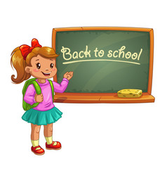 little cute cartoon girl near school blackboard vector image
