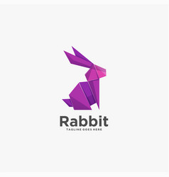 logo rabbit poly colorful style vector image