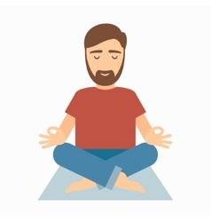 Man meditating on rug vector