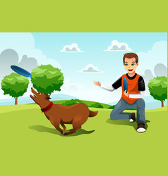 man playing frisbee with his dog vector image