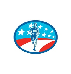 Marathon runner usa flag oval woodcut vector