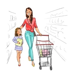 Mother and daughter shopping together vector