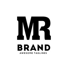 mr letter monogram strong and bold logo vector image