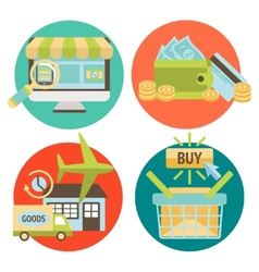 Online Shopping Business Icons Set vector image