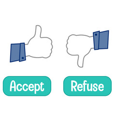 Opposite words with accept and refuse thumb signal vector